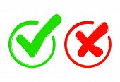 Check Mark Icon Set. Gree Tick And Red Cross Flat Simbol. Check Ok, Yes Or No, X Marks For Vote, Dec poster
