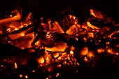 Hot And Bright Embers. Warm And Bright Embers, With A Bright Orange Color. No Character. Front View. poster