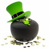 St. Patrick: pot of coins and hat