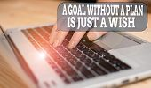 Writing Note Showing A Goal Without A Plan Is Just A Wish. Business Photo Showcasing Make Strategies poster