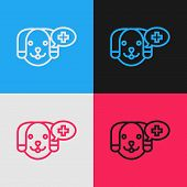 Color Line Veterinary Clinic Symbol Icon Isolated On Color Background. Cross With Dog Veterinary Car poster