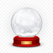 Snow Globe Ball. Realistic New Year Chrismas Object Isolated On Transperent Background With Shadow.  poster