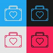 Color Line Suitcase For Travel With Heart Icon Isolated On Color Background. Honeymoon Symbol. Trave poster