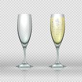 Realistic Champagne Glass. Empty And Full Transparent Champagne Wine Glasses. Vector Isolated Realis poster
