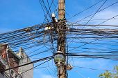 Tangle Of Electrical Wires. Electric Pillar With Too Many Connection. Asian Electric Supply. Industr poster