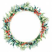 Watercolor Christmas Wreath With Berries And Eucalyptus. Hand Painted Fir Border With Barberries, Eu poster