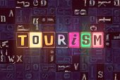 The Word Tourism As Neon Glowing Unique Typeset Symbols, Luminous Letters Tourism poster