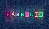 The Word Earnings As Neon Glowing Unique Typeset Symbols, Luminous Letters Earnings poster