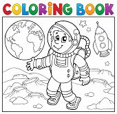 Coloring Book Astronaut Theme 2 - Eps10 Vector Picture Illustration. poster