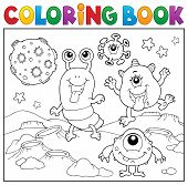 Coloring Book Monsters In Space Theme 2 - Eps10 Vector Picture Illustration. poster