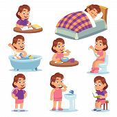 Girl Daily Activities. Children Life Morning Brushing Teeth Exercising Reading School Toys And Other poster