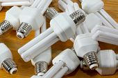 Energy efficient lightbulbs in a pile