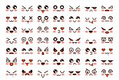 Kawaii Faces. Cute Cartoon Emoticon With Different Emotions. Funny Japanese Emoji With Eyes And Mout poster