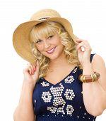 Beauty In The Summer - Cute Blonde Girl Wearing Straw Hat