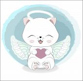 Lovely Cute White Angel Kitten Little Kitten Wifh Heart. Valentines Day Card. The Picture In Hand Dr poster