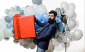 Happy Birthday Guy With Helium Balloons And Big Gift Box. Festive Event. Birthday Party. Handsome Ma poster