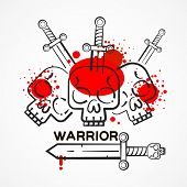Warrior Logo On White Background. Army Vector Background. Vector Logo Template. Logotype. Conception poster