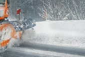 Snowplow Truck Removing Dirty Snow From City Street Or Highway After Heavy Snowfalls. Traffic Road S poster