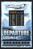 Airport Vintage Poster Of Passengers Terminal Departure Lounge And Flights Schedule Table. Vector Tr poster