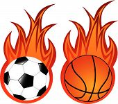 Vector Illustration Of Basketball And Soccer Balls In Flame poster