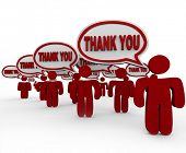 Many people, customers, neighbors or community members say Thank You in speech bubbles to share thei