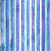 Watercolor Teal Blue Purple Stripes On White Background. Colorful Striped Seamless Pattern. Watercol poster