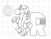 Letter R And Funny Cartoon Unicorn. Animals Alphabet A-z. Coloring Page. Printable Worksheet. Handwr poster