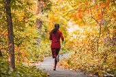 Run woman jogging in outdoor fall autumn foliage nature background in forest. Trail running runner a poster