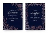 Wedding Invitation. Floral Wedding Cards With Rose Frame In Victorian Engraving Style. Vintage Vecto poster