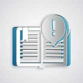 Paper Cut Interesting Facts Icon Isolated On Grey Background. Book Or Article Sign. Exclamation Mark poster