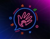 Hand Line Icon. Neon Laser Lights. Social Responsibility Sign. Honesty, Collaboration Symbol. Glow L poster