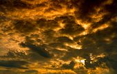 Dramatic Golden Sunset Sky And White Cumulus Clouds. Cloudy Sky. God Light Concept. Beautiful Clouds poster