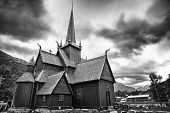 Norwegian Church on a stormy day. Black and White