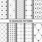 Set Of Ten Seamless Patterns. Abstract Geometrical Trendy Vector Backgrounds. Linear Style. Fashion  poster