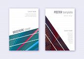 Geometric Cover Design Template Set. Red White Blue Abstract Lines On Dark Background. Captivating C poster