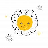 Sun Scandinavian Baby Textile In Cartoon Style. Children Cartoon Vector Art Illustration.funny Carto poster