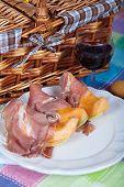 stock photo of nic  - Fresh cantaloupe melon with italian Parma ham - JPG