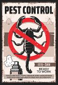 Pest Control Service Vintage Poster, Professional Home Disinsection. Vector Dangerous Insects Exterm poster