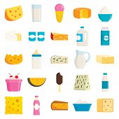 Collection Of Different Milk Products In Flat Style. Ice Cream, Cheese, Product Of Milk Fresh In Gla poster