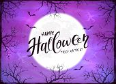 Happy Halloween And Ghosts On Purple Background poster