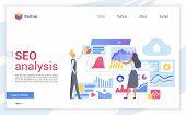 Seo Analysis Flat Landing Page Template. Website Traffic Increasing Webpage Design Layout. Web Analy poster