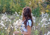 Girl With Long Wavy Hair In A Clearing With Fluffy Seeds Of Plants. Plants With Fluffy Seeds. Plants poster