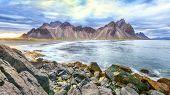 Dramatic Black Sand Beach On Stokksnes Cape In Iceland. Location: Stokksnes Cape, Vestrahorn (batman poster