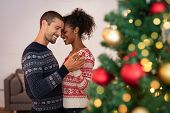 Romantic multiethnic couple holding hands and dancing near christmas tree at home. Loving boyfriend  poster