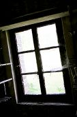 Beautiful Wooden Frame Window In Old Building Without People. Old Building Consisting Of Frame Windo poster