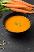 food, new nordic cuisine, culinary and cooking concept - close up of vegetable pumpkin cream soup wi poster