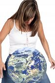 stock photo of geosphere  - Young woman accidentally dropping the earth  - JPG