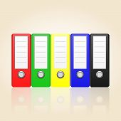 Row Of Color Binders Vector