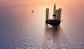 stock photo of derrick  - Petrochemical tower on the background of the sea - JPG