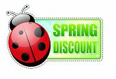 Spring Discount Green Label With Ladybird